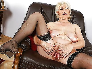Busty 72 year old mom shows her big meat hole