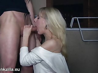 Deepthroat on the hotel balcony