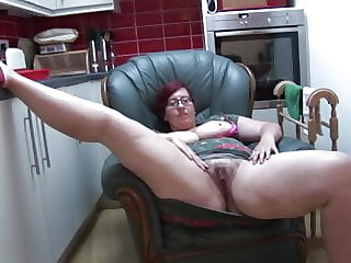 Busty BBW Milf Jayne L in pantyhose does striptease and toy play