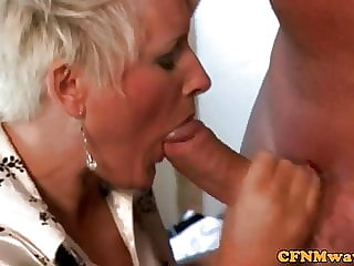 CFNM femdom mature slut on knees sucking dick