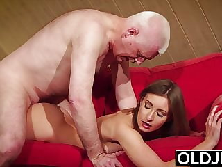 Girl gives grandpa hard erection, then fucks him