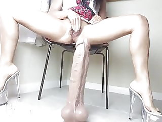 Latina's Colossal Dildo Ruins Her Pussy