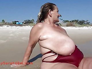 One piece swimsuit and the biggest saggy tits ever
