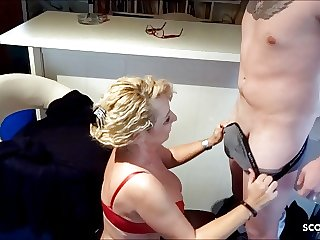 German Mom Surprises Stepson with BJ and swallows his Sperm