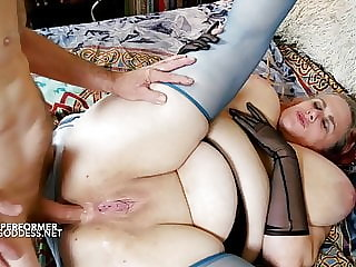 Busty babe takes it up her ass bareback