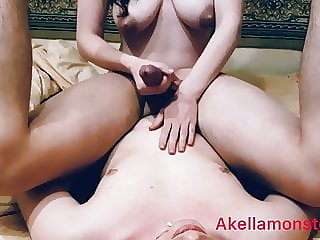 Femdom Milking Husband With Huge Self Facial