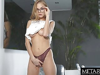 Hot blonde squeezes her big natural tits as she masturbates