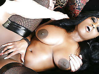 Black Momma Jada Fire with Natural Tits Milks His Big White Shaft