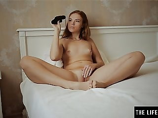 Girl has an orgasm as she watches her sexy neighbor strip