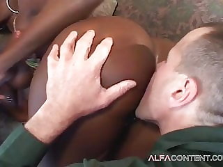 Busty black girl receives white dicks