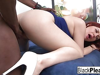Sexy redhead Jessica can't get enough interracial love