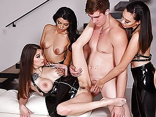 Latex Lovers Enjoy Group Sex Domination