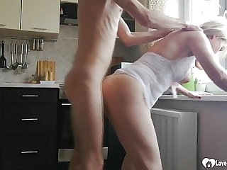 Horny stepmom gets pounded in the kitchen