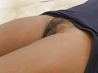 Black hairy cunt ready for big white cock