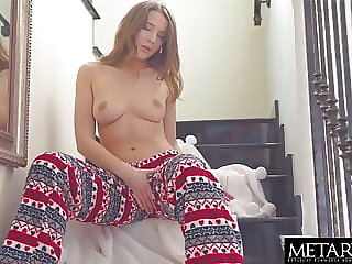 Sexy brunette squeezes her perfect tits as she masturbates
