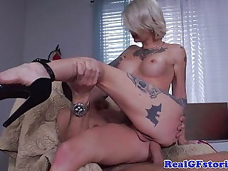 Tattood real blonde milf drilled in ass