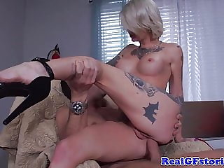 Tattood blonde milf plowed in butthole