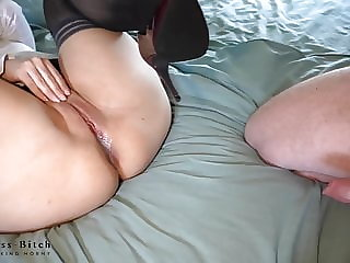hot office clerk gets missionary creampie - business-bitch
