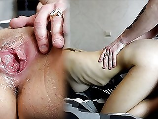 Cumshot in 18 y.o. with big tits! Real sex with a condom!