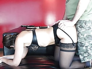 MILF in leather underwear sucks big cock and gets fucked