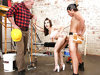 Stepdaughter fucked at a construction site in front of dad