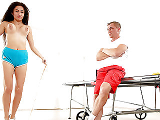Jumping rope and Sucking Cock