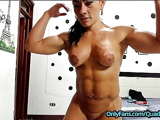 Biceps Training with Extreme Muscular Female Bodybuilder