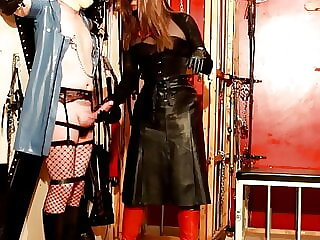 Eva Fetish, fashion tv, Mistress in leather and red boots