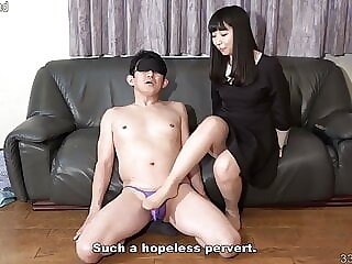 Petite Japanese Girl Blindfolds a Man and Gives Him Footjob