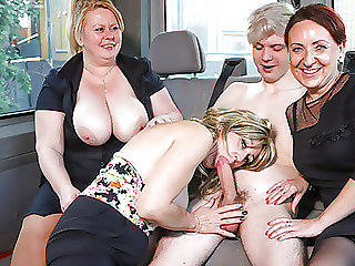Cougars fucking and sucking a pretty boy