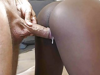 Ebony tight pussy queefing with BWC, creampie ending