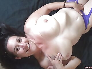 Fucking and cumming on an amateur MILF with big naturals