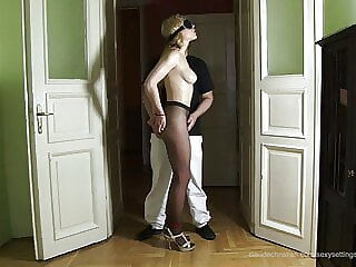 Lily Labeau in pantyhose – blindfolded and tied