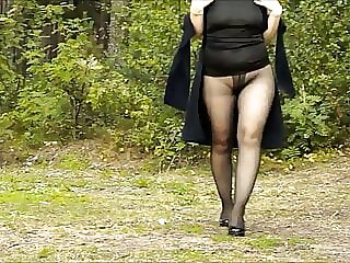 My walk in pantyhose with heels