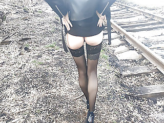 fucked hottie in stiletto heels and in stockings on train