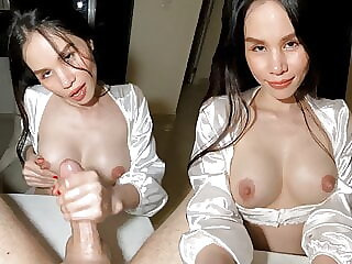 Asian girl gives JOI, PERFECT oily HANDJOB with cumshot