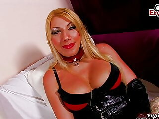 French blonde milf in latex try first time porn casting