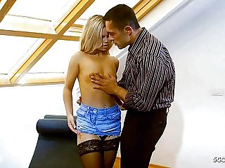 ROUGH ANAL SEX FOR SLIM SECRETARY LUCY IN JEANS MINI SKIRT