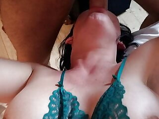 Daddy gets hot babe to suck his dick in hotel.
