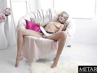 Cute blonde masturbates and plays with her big natural tits