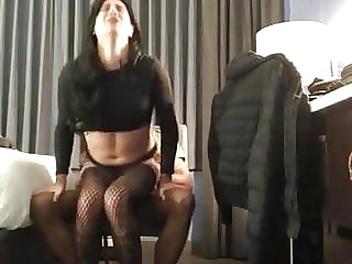 Crossdresser Rides BBC in Hotel