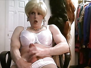 blonde hair white bra jerk off session