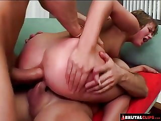 BrutalClips - Triple hole threesome in the living room