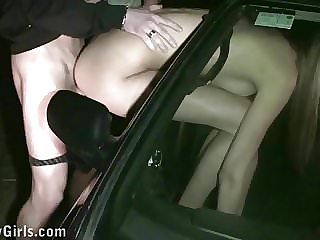 Cum on Kitty Jane face through car window in public sex orgy