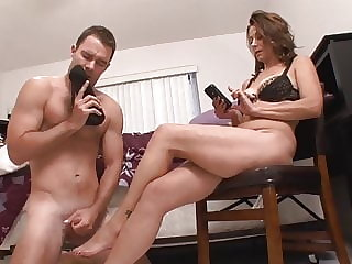 Shoe Sniffing Stepson Become Slave(mom femdom,cum on feet )