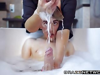 His big hard cock tastes like chicken in her slutty mouth