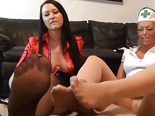 Two Girls nylon footjob