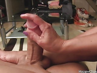 Mrs Loren sloppy handjob, footjob
