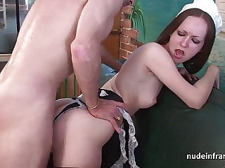 Young french maid hard anal pounded and facialized