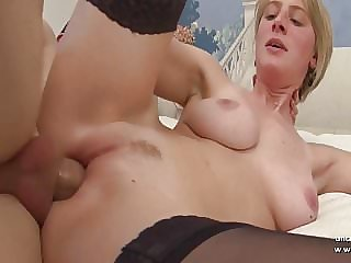 Gorgeous big boobed french blonde analyzed n jizzed on tits